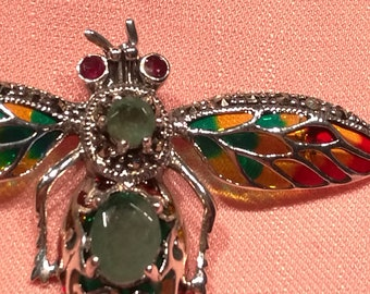 925 silver brooch with two natural emeralds