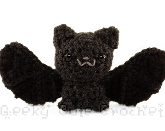Silver Haired Bat Large Amigurumi Crochet Plush Toy Black Batty Cute