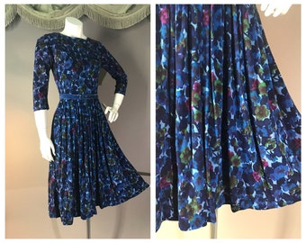 60s dress 1960s vintage BLUE PINK FLORAL green flowers print full skirt fit and flare dress
