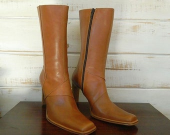 Charles David Tan Leather Boots - Platform Heel - Square Toe - Mid Calf - Size EU 36