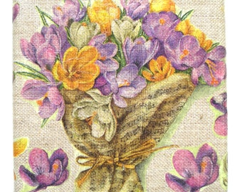 Very attractive collage (sticking) on linen painting (cloth) Croci 12 x 12 cm (4.72 x 4.72 inches).