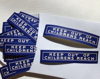 Medical Ephemera, Keep Out of Childrens Reach, 25 Vintage Blue Gummed Labels, Vintage Pharmacy, Smash Book, Junk Journal Pack, Altered Art
