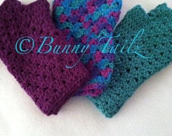 Fingerless Gloves Handmade Crochet Gloves Half Finger Gloves Arm Warmers Teal Purple Blue