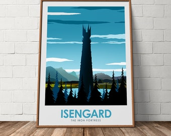 Isengard The Iron Fortress Lord Of The Rings Movie Poster, The Lonely Mountain, Alternative Minimalist Poster, Art, Wall Art, Art Print