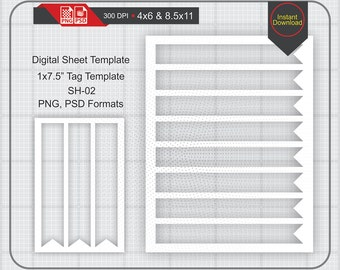 """1x7.5"""" SoHo Tag/Label Template Instand Download, Make Your Own Template Png and Psd Formats, Transparent Background"""