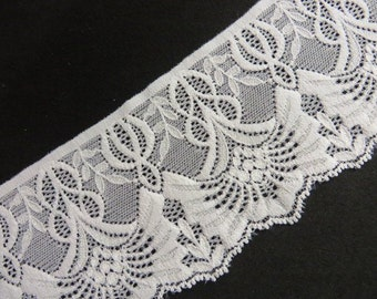 3 m high-quality elastic white top, 8.5 cm wide Art Nouveau