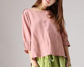 linen top in pink, linen blouse, Linen Shirt, oversized blouse, women blouse long sleeve, loose blouse top, summer linen blouse 77712