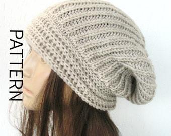 Winter Knitting pattern hat Instant Download Knit hat pattern, Digital  Knitting PATTERN   woman  Slouchy  Hat  Pattern Downloadable Pattern