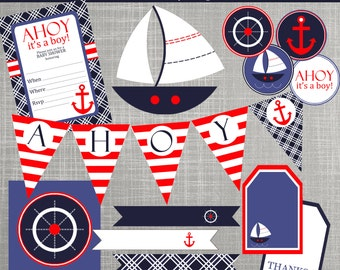 Nautical Baby Shower Decorations - Nautical Birthday Party Decorations  - PRINTABLE/ DIY - Nautical Sailboats Collection