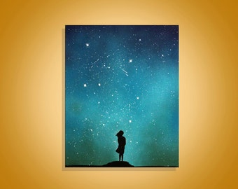 Little Girl - Space Art - Inspirational Wall Art  Painting - Child - Paintings On canvas - Spray Paint Art - Shooting Stars Memorial gift