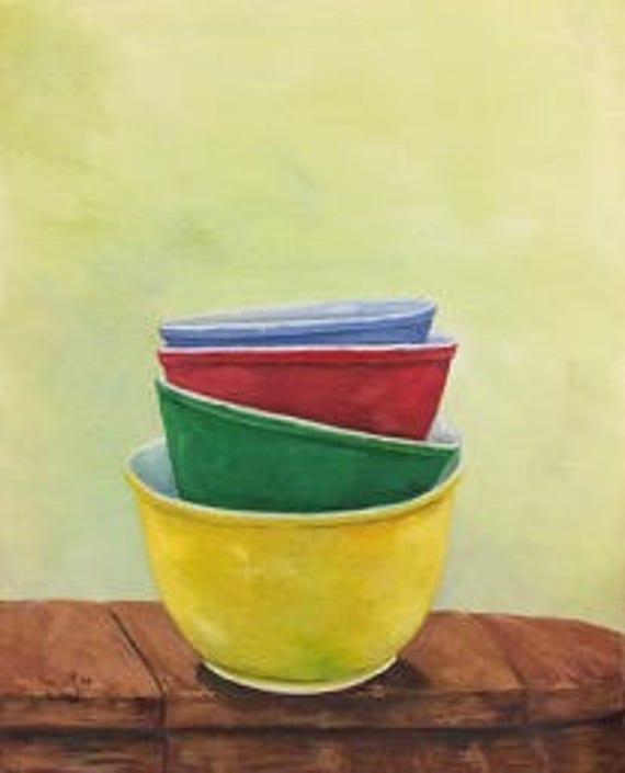 Vintage Colorful Mixing Bowls Original Painting | Pyrex Mixing Bowl Painting