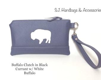 Buffalo Clutch/Wristlet/Purse in Black Currant with White Buffalo