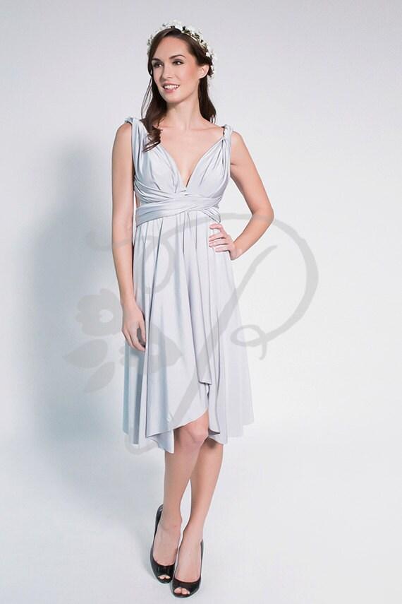 Brautjungfer Kleid Infinity Kleid leicht grau/Silber knielange
