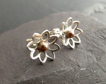 Sterling Silver Stud Earrings, Tiny Studs, Flower Earrings, Silver and Copper Earrings, Post Earrings, UK Sellers Only, Copper Anniversary