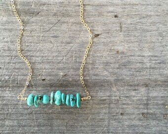 Turquoise Chip Necklace - Turquoise Necklace - Turquoise Bar Necklace - Turquoise Bar - Gift for her - Layering Necklace - Turquoise