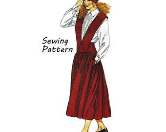 McCall's 4977 Woman's Jumper with Straps, Button-Down Shirt and Petticoat Size 8 Bust 31.5in /80cm Sewing Pattern 1990's UNCUT