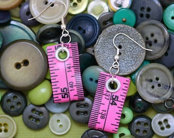 Tape Measure Earrings in Pink - Statement Jewelry created with Upcycled Measuring Tape - Dangle Earrings - Repurposed - Trashion - Crafty
