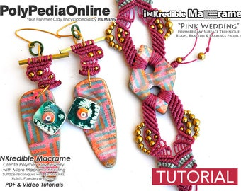 Macrame Pattern, Macrame Tutorial, How to Macrame, DIY Macrame, Macrame Jewelry, Necklace Pattern, DIY Beads, Macrame Gifts, Polymer Clay