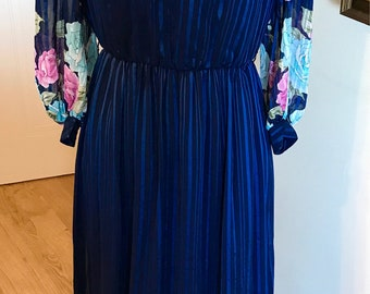 Vintage Maxi dress navy blue stripes floral tassels boho 70s dress
