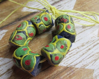 Blue Green Yellow Red African Krobo Bead, African Trade Bead, Ghana Bead, Glass Bead, African Glass Beads, Teal Beads, Beads
