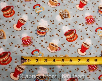 Coffee House Steamy Java Cups Beans on Blue BY YARDS Henry Glass Cotton Fabric