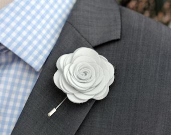Big White leather lapel rose pin, Mens lapel flower, stick pin, white lapel wedding boutonniere, lapel boutonniere,white rose boutonnniere