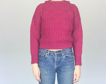 Raspberry Chunky Hand Knit Cropped Sweater (S)