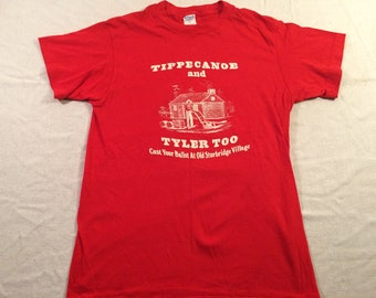 Large 80's Tippecanoe and Tyler Too men's vintage T shirt red white 1980's Cast Your Ballot At All Old Sturbridge Village whig party politic