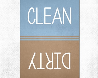 """Clean Dirty Dishwasher Magnet - Classic Blue and Brown -  2.5"""" x 3.5"""" Size"""
