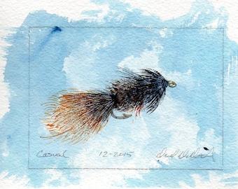 Fly Fishing Art - Original Art - Watercolor - Casual Dress - Wet Fly - Made in Michigan - Michigan Artist - Fly Fishing - Black Frame