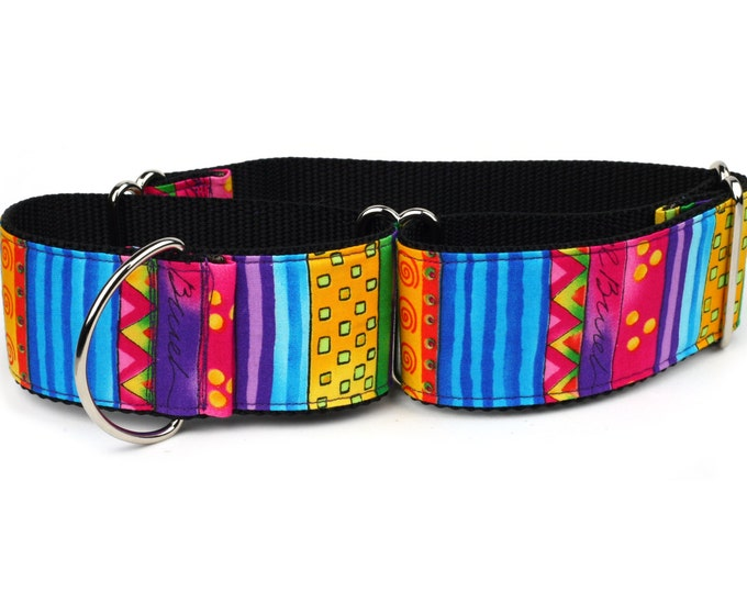 "Greyhound Dog Collar - Happy Go Lucky Stripe - 2"" Martingale Dog Collar"