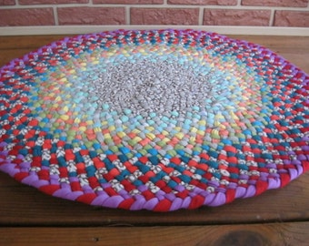 """Made To Order Custom 30"""" Braided Round Rug in your choice of colors"""