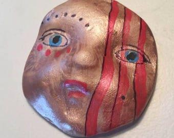 Handmade clay face  mask Buddha spirit dolls doll head  jewelry craft supplies  handmade clown cabochon  face   polymer
