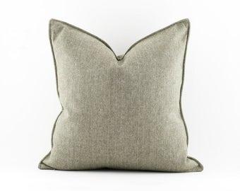 Green Wool Herringbone Pillow 12x18, 12x12, 20x20 and 24x24