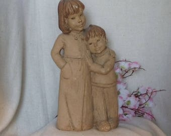 "Vintage Lee Bortin Large, 12"" Brown Ceramic Statue,Girl and Boy, Brother and Sister, Antique Collectible,NEW LISTING!!!, #VB7264"