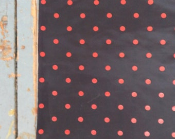 44 inch wide Faille Taffeta Black with Red Dots Yardage - By the Yard