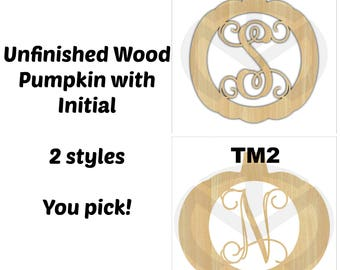 Pumpkin Monogram  -01647C- Any Initial, Unfinished Wood Laser Cutout, Door Hanger , Various Sizes, Script, Fall, Halloween, Thanksgiving