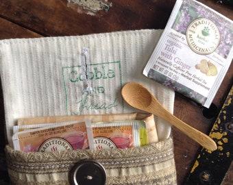 Tea travel pouch, tea travel kit, portable tea, herb pouch, teacher gift,  tea wallet, travel gift, zero waste