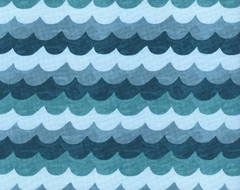 Waves Turquoise from Amalfi by Anna Bond of Rifle Paper Co for Cotton + Steel - 1/2 Yard