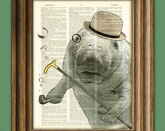 Dandy Manatee is looking dashing today with bowler hat and pipe beautifully upcycled dictionary page book art print
