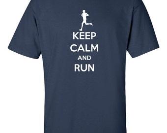 Keep Calm and Run Men's T-shirt Running Marathon 12k Tee