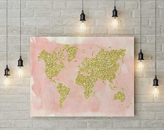 Pink and gold, glitter, world map, art prints, modern home decor, map of the world, world map poster, large wall art, cool birthday gifts