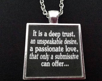 BDSM Submissive Dominant Jewelry Submission Domination Dom Sub Master Sir Slave D/s Kinky Fetish Lifestyle Love Necklace Pendant