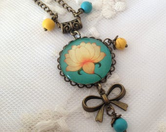 Lotus Flower cameo necklace.
