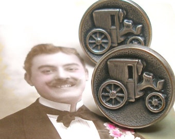 Carriage BUTTON cuff links. Vintage vehicle buttons on silver. Antique Button Jewelry.