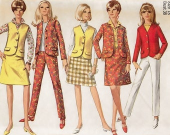 "A Sleeveless & Long Sleeve Jacket, A-Line Skirt and Side-Zip Slacks Pattern for Women: Uncut - Retro Size 18, Bust 38"" • Simplicity 7089"