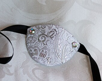White Eye Patch, MADE to ORDER White and Silver Paisley Brocade Over Leather Pirate Eye Patch Pirate Costume Accessory