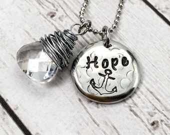 Anchor Necklace - Hope Necklace - Hand Stamped Necklace - Pewter Pebble Necklace