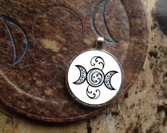 Triple Goddess Moon Symbol Bezel Amulet by Mickie Mueller