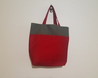 Tote Bag / Upcycled / Gray / Red